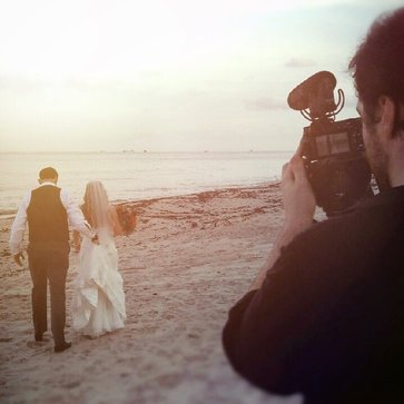 BTS Filming Beach Wedding